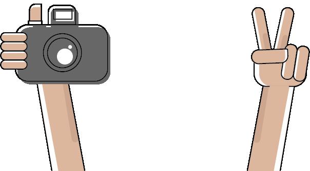 Hand met fototoestel